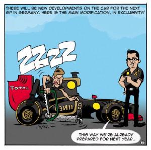 Lotus Renault GP komanda mąsto ką daryti su išmetimo sistema.